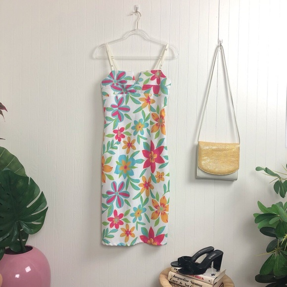 Vintage Dresses & Skirts - '90s Floral Midi Dress >> SZ S-M